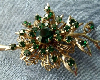 Vintage Brooch Pin Green Rhinestones Flower Leaves Goldtone