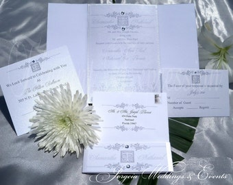 Pure Platinum Wedding Invitation.....set of 25