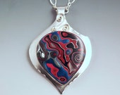 Fordite- Blue and Red Sparkle Beauty- Sterling Silver Pendant- Made in Detroit- One of a Kind Statement Piece