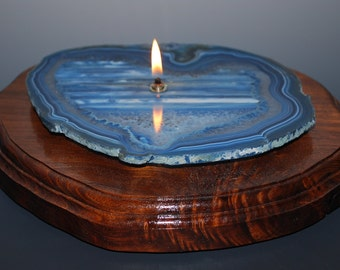 Large Agate Stone & Hardwood Oil Candle