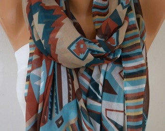 Southwestern Scarf Fall Fashion Bohemian Scarf Aztec Scarf Tribal Scarf Shawl Cotton Scarf Gift Ideas For Her  Women Fashion Accessories