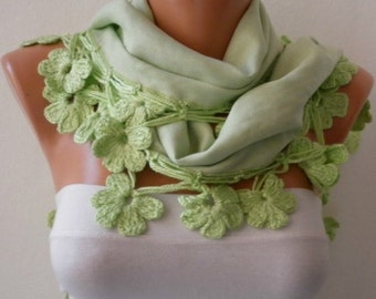 Light Green Floral Pashmina Scarf Winter Scarf Easter Cotton Shawl Cowl Gift Idaes For Her Women's Fashion Accessories Mother's Day Gift