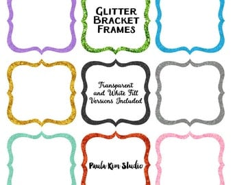 Glitter Bracket Frame Clipart, Glitter Borders Clip Art, Instant Download, Commercial Use, Glitter Clipart