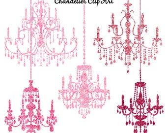 80% OFF SALE Pink Glitter Chandelier Clip Art, Sparkling Glitter Chandeliers, Pink Clipart, Instant Download, Commercial Use, Chandelier