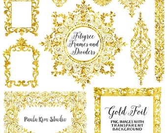 Gold Foil Digital Frame, Flourish Clipart, Wedding Invitation Clip Art, Instant Download
