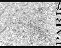 Vintage Paris Street Map Street Map Poster Print - Black and White