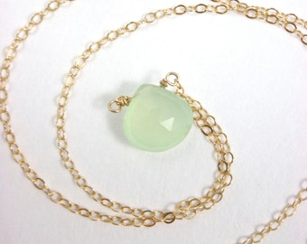 Seafoam Droplet Necklace - Chalcedony - 14k Gold Fill or Sterling Silver