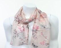 blush pink pastel watercolor butterfly print silk print scarf