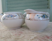 Dainty Vintage Hand Painted Forget-Me-Nots Creamer and Sugar///Nippon