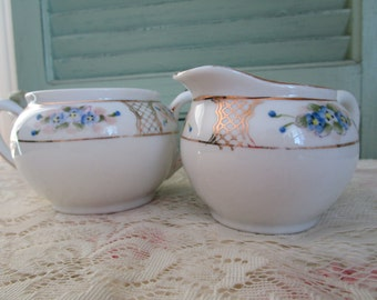 Nippon Creamer and Sugar   Hand Painted Forget Me Nots    Dainty Size