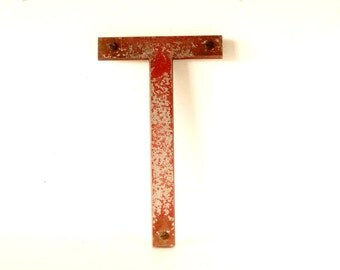 """Vintage Industrial Metal Letter """"T"""" Marquee Sign, 10 inches tall (c.1950s) N1 - Industrial Decor, Altered Art Assemblage Supply"""