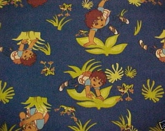 Dora's Cousin Diego Fabric Blue 2006 Fat Quarter New BTFQ