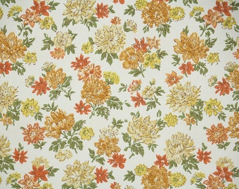 Vintage Wallpaper by the Yard 60s Retro Wallpaper - 1960s Orange and Yellow Flowers on White