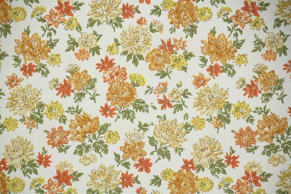 vintage wallpaper by the yard 60s retro wallpaper 1960s orange and yellow flowers on white. Black Bedroom Furniture Sets. Home Design Ideas