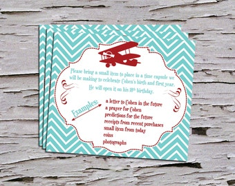 Vintage First Birthday Time Capsule Insert for Invitation- Airplane - Biplane - Time Flies - Retro Birthday- Red -Teal - Navy - Baby Blue -