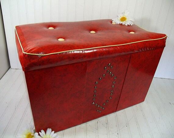 Retro Red Amp Ivory Vinyl Storage Hassock Coffee Table