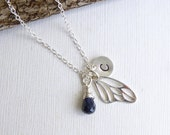 Sterling Silver Fairy Wing Birthstone Initial Necklace -- Choose Your Stone -- Friendship -- Mothers -- Sisters