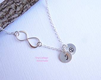 Infinity Necklace with Two Initials -- Personalized 925 Sterling Silver -- Friendship Necklace -- Mothers Necklace