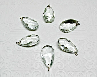 Vintage Chandelier Crystal Prisms Tear Drop Replacements Crafts Jewelry Set of SIX 1980s teardrop
