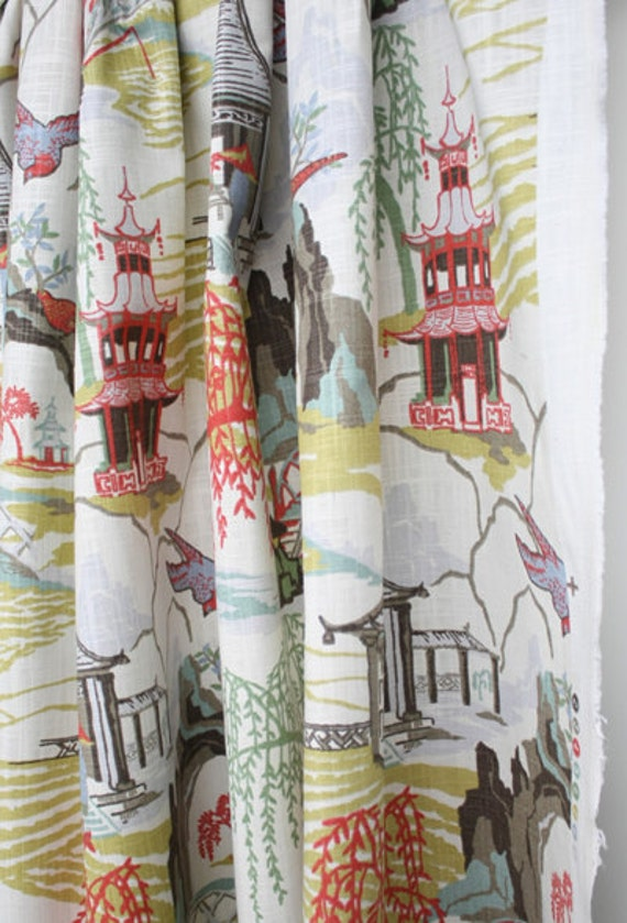 Custom Curtains Or Drapes Oriental Toile Print By Robert