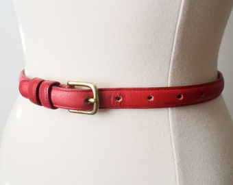 "Vintage COACH Red Cowhide Leather BELT Size 26"" 65cm Solid Brass"