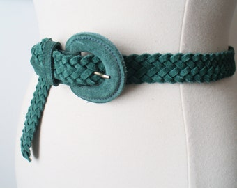 Vintage 80s Turquoise Green Leather Boho Braided Belt Size M