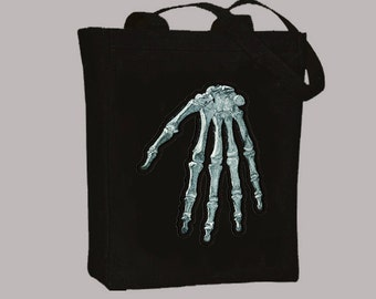 Vintage Human Hand Anatomical Skeleton Bones BLACK or NATURAL Tote  - Selection of sizes available