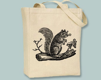 Wonderful Vintage Squirrel on tree branch Illustration Canvas Tote -- selection of tote sizes available