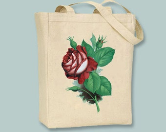 Pefect Vintage Red Rose Canvas Tote -- Selection of Sizes available