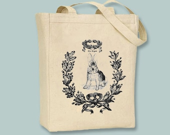 Le Lapin Vintage Collage Rabbit Tote  -- Selection of sizes, ANY IMAGE COLOR available