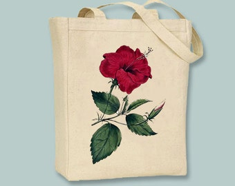 Red Hibiscus Flower Vintage Illustration Canvas Tote -- Selection of Sizes available
