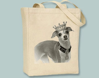 Royal Italian Greyhound with Crown on Natural or Black Tote -- Selection of sizes available