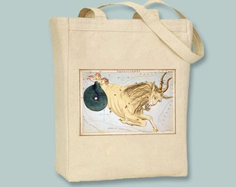 Vintage Astrological Sign Capricorn Natural or Black Canvas Tote -- Selection of sizes available