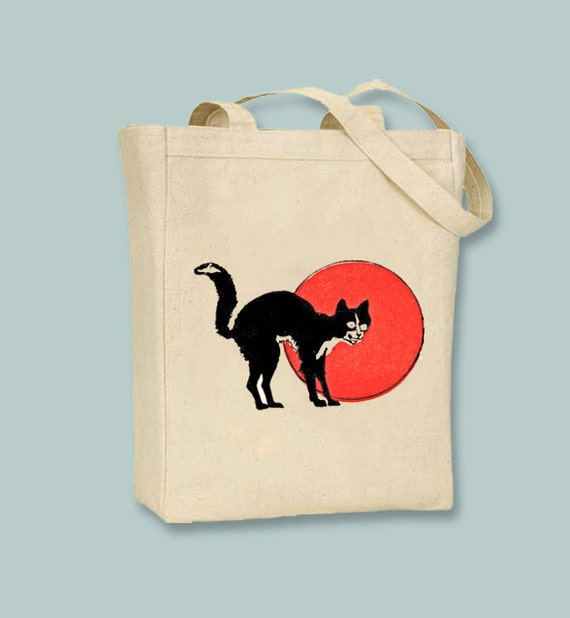 Vintage Black Cat with Orange Moon Halloween Image Natural or Black Canvas Tote -- Selection of colors and bag sizes available