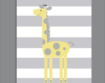 Giraffe and Stripes, Nursery Print, Giraffe Nursery Decor- Print