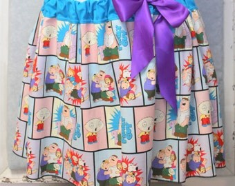 FAMILY GUY SKIRT/Women's Clothing/Juniors Clothing/One Size Fits Most/Fun Skirt/Colorful Skirt/Cartoon Skirt/Made to Order