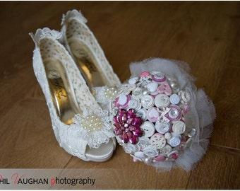 Bespoke Button & Brooch Wedding Bridal Alternative Keepsake Bouquet