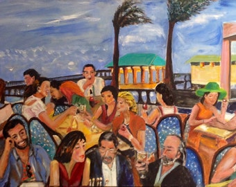 Beach Dining in Ft. Lauderdale  Ocean Tropical Beach Scene Playing on the Beach Original oil painting by Marlene Kurland  48x24