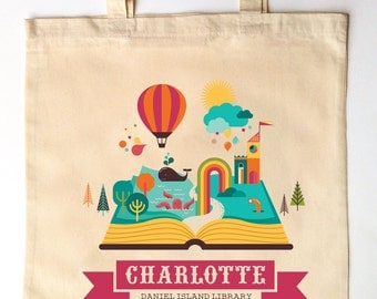 Library Tote for Kids - Custom Printed LIbrary Book Bag - Children's Tote Bag - I love Reading