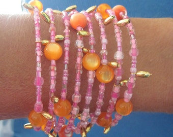 Hand Made Multi Wrap Pinks & Oranges with Fringe Coil/ Memory Wire Bracelet...... ..1513h