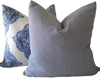 Navy Pillows - Indigo Pillow - Blue Pillow - Navy Cushion Cover - Navy Accent Pillow - Indigo Lumbar Pillow - Basketweave Pillow - Euro Sham