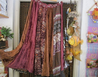 Gypsy Patchwork Ankle Length Skirt with Sequined and Embroidered Waist, Vintage - Large