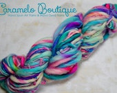 Turquoise Shades Hand Spun Thick and Thin Yarn-Hand Dyed Super Bulky Yarn-Hand Spinning Bulky Yarn-Thick and Thin Yarn Art-Slub Yarn