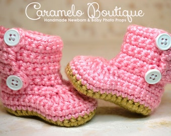 Crochet Pink Baby Girl Boots-Pink Baby Girl Boots-Baby Girl Shoes-Newborn Boots-Infant Boots-Newborn Photography Prop-Baby Girl Photo Props
