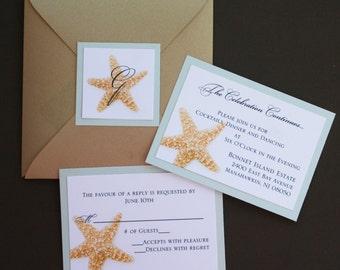 Champagne Metallic Star-fold Starfish Wedding Invitation with Monogram Fastening Label