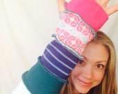 Teal and pink  fingerless gloves upcycled arm warmers Hope Floats Upcycled