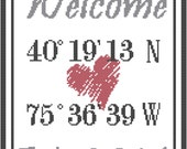 Modern Housewarming Cross Stitch Pattern Latitude and Longitude Welcome and Established Year