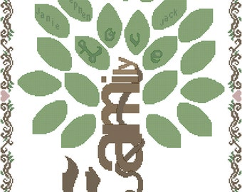 Modern Family Tree Cross Stitch Pattern Personalized