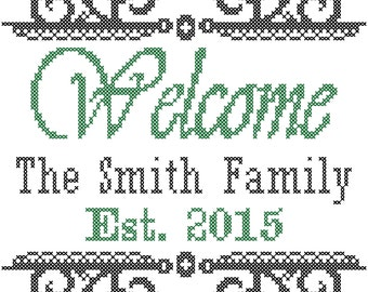 Modern Cross Stitch Welcome, Family Name & Est. Year Pattern with Swirly Border