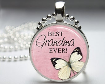Best Grandma Round Pendant Necklace with Silver Ball or Snake Chain Necklace or Key Ring